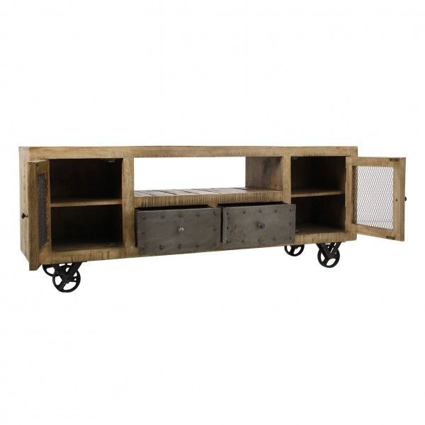 Mueble tv luton tv de estilo industrial madera de mango - Mueble tv con ruedas ...