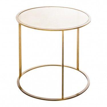 Mesa auxiliar redonda dorada cristal - Mesa auxiliar redonda ...