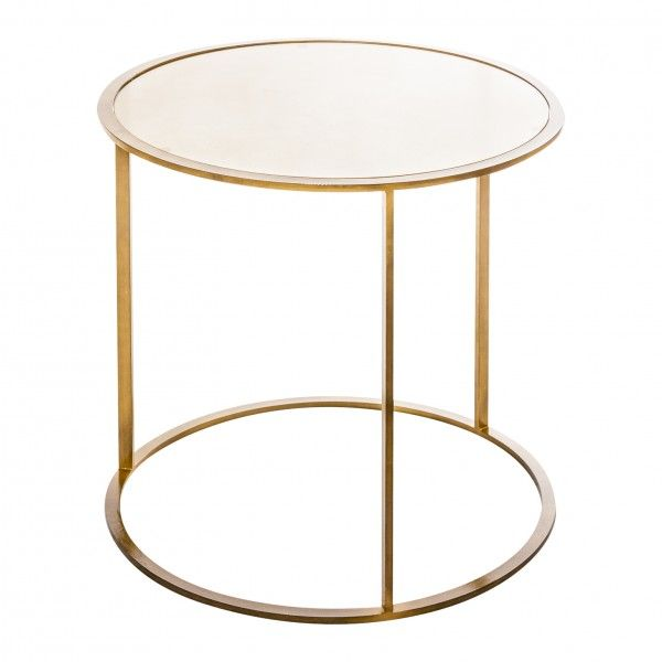 Mesa auxiliar redonda dorada cristal - Mesitas auxiliares de cristal ...