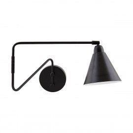 Lámpara de pared negra con brazo articulado.