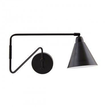 Lámpara de pared nagra con brazo articulado.