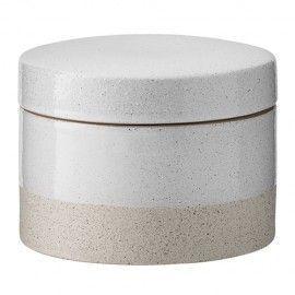 Bote de cerámica acanado natural.