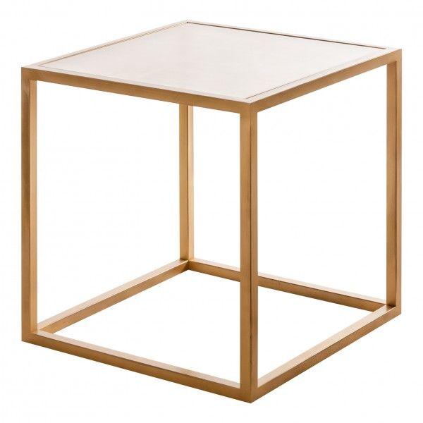 Mesa auxiliar damme dorada art deco cristal - Mesa auxiliar dorada ...