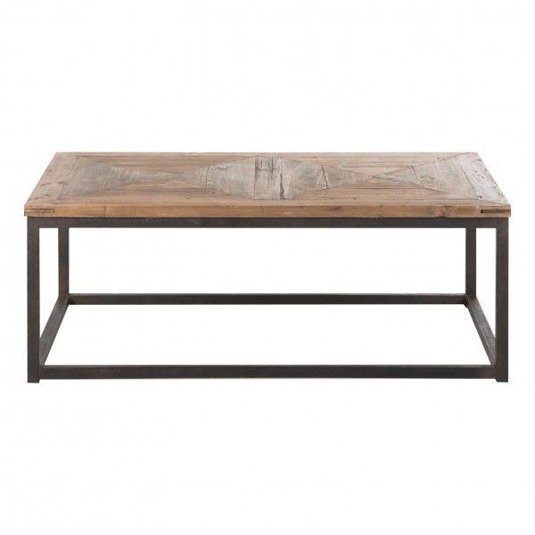 Mesa de centro vichy estilo industrial hierro madera - Mesas de centro madera y hierro ...