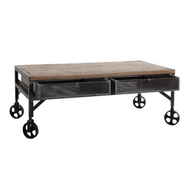 Mesa de centro trent n industrial con 2 cajones y ruedas - Ruedas para mesa de centro ...