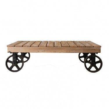 Mesa de centro industrial de madera con ruedas de hierro for Mesa de centro de metal industrial