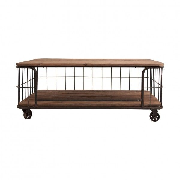 Mesa de centro sudbury industrial madera hierro con ruedas - Mesas de centro con ruedas ...