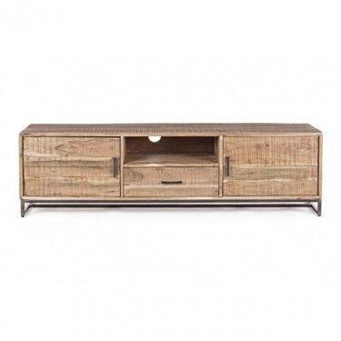 Mueble TV madera de acacia, estructura de patas en hierro.
