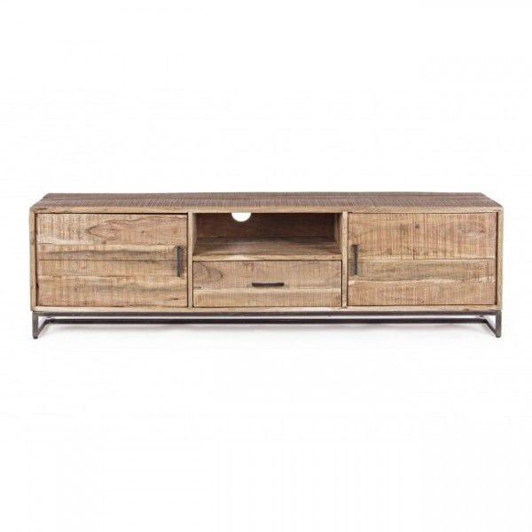 Mueble tv madera de acacia estructura de patas en hierro for Mueble hierro y madera