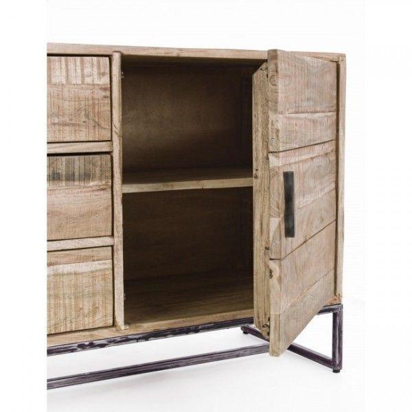 Aparador madera de acacia con 2 puertas laterales y 3 cajones - Aparador bajo ...
