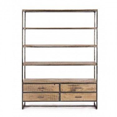 Estantería de madera de acacia con cajones inferiores.