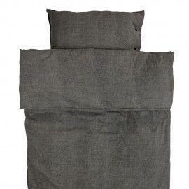 Funda de edredón y almohada gris oscuro.