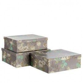 Caja gris flores.