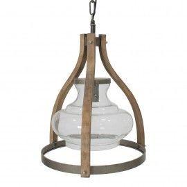Lámpara vintage de hierro y madera.