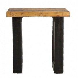 Mesa auxiliar de madera natural y negro.