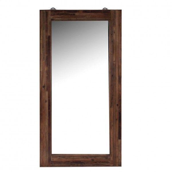 Espejo rectanglular de madera natural de pino de estilo tnico - Espejos etnicos ...