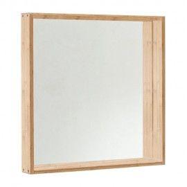 Espejo de madera natural de bambú cuadrado.