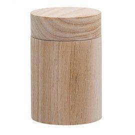 Bote de madera y tapa.