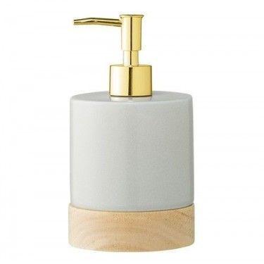 Dispensador de jabón en gres y madera.