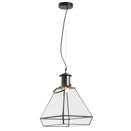 Lámpara de techo hierro/cristal tipo farol.