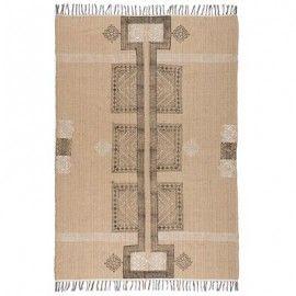 Alfombra de yute y algodón. 120x180 cm.