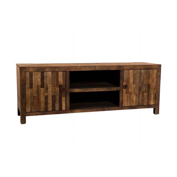 Mueble tv en madera de abeto en tono natural con distintos tacabados - Muebles de madera natural ...