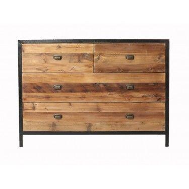 Aparador en madera de pino y hierro.