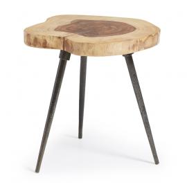 Mesa auxiliar de madera sheesham natural. 35x35x45 cm.