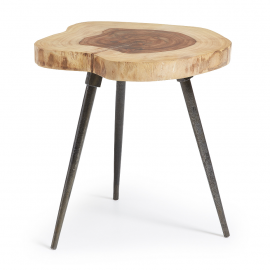 Mesa auxiliar de madera sheesham natural.