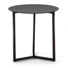 Mesa auxiliar de acero y sobre de cristal negro.