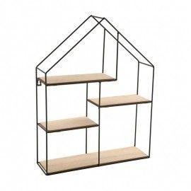 Estantería de pared con forma de casita.