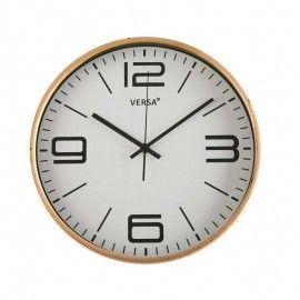 Reloj de pared con fondo blanco y números en negro.