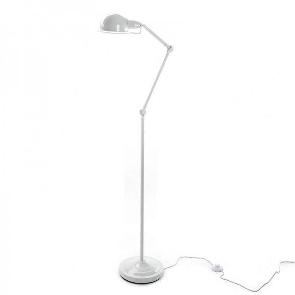 L mpara de suelo de metal blanco con brazo y pantalla - Lamparas de suelo ...