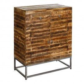 Aparador industrial de madera envejecida de mango y hierro.