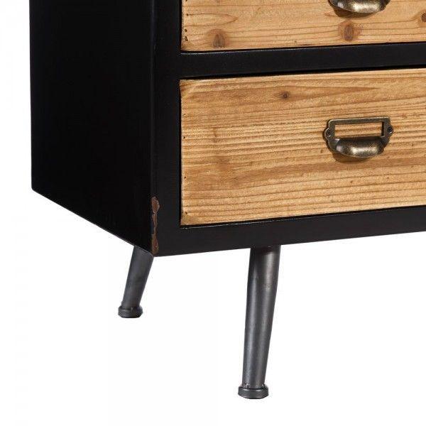 Mueble tv de madera de abeto y hierro con 5 cajones y bandeja for Muebles tv industrial
