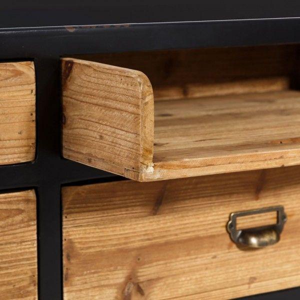 Mueble tv de madera de abeto y hierro con 5 cajones y bandeja for Muebles de hierro y madera
