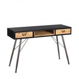 consola - escritorio de madera de abeto y hierro cajones.