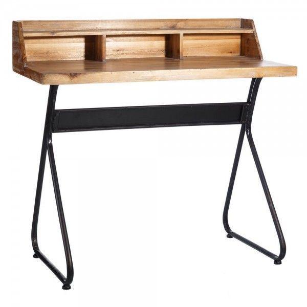 Escritorio de madera de abeto y hierro estilo industrial - Madera de abeto ...