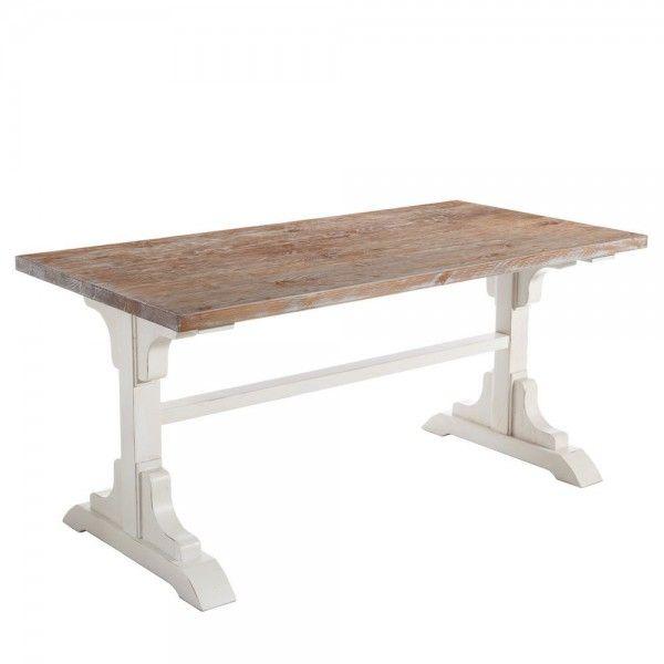Mesa de comedor madera de pino estructura lacada en blanco - Mesa madera pino ...