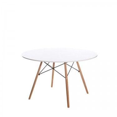 Mesa de coMesa de comedor redonda con sobre blanco y patas de madera ...