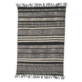 Alfombra de diseño oriental en tonos grises y negros. 160x230 cm.