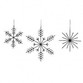 Set 3 copos de nieve negros.