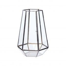 Farol de cristal y metal con apertura lateral.