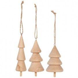 Adornos con forma de árboles de madera. 3 modelos.