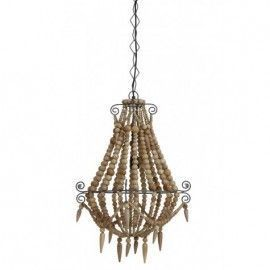 Lámpara con perlas de madera.