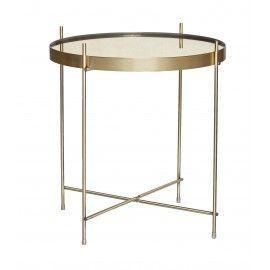 Mesa redonda dorada y espejo.