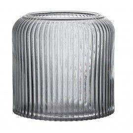 Jarrón de cristal gris.