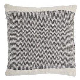 Cojín de algodón natural con estampado gris zig-zag.