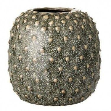 Jarrón verde de cerámica.