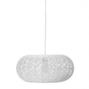Lámpara de papel trenzado blanco.